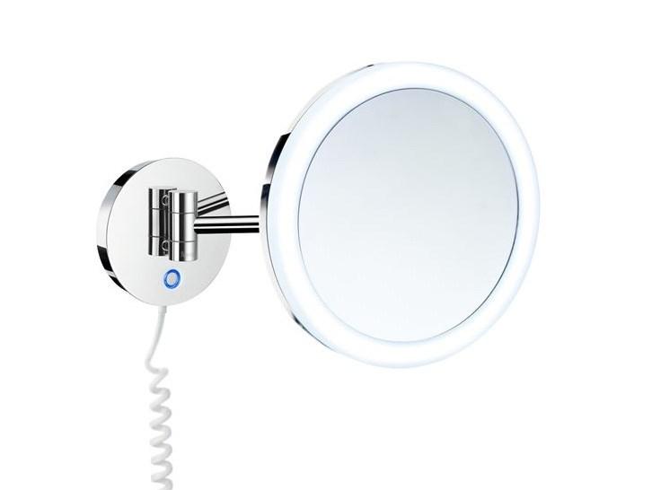 makeupspejl med lys og forstørrelse væghængt